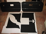 6 Piece Interior Panel Set with Door Panels MGB 1970-80 Black with Chrome