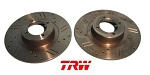 TRW Cross Drilled and Slotted MGB Front Brake Rotor Set 1963-1980