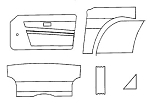 Interior Panel Kit W Door Panels for Triumph TR6 1974-1976
