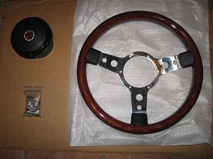 "13"" Solid Wood Rivited Steering Wheel With Mounting Boss"