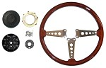 Wood Steering Wheel and Adaptor for MGB 1970-1976 OE Type Wheel in Wood